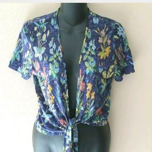 Kenzo Paris Viscose Tie Front Floral Cropped Short